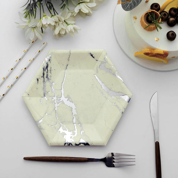 "25 Pack | 8.5"" Ivory Dessert Salad Paper Plates, Hexagon Disposable Plate With Silver Foil Marble Design - 400 GSM"