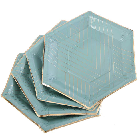 "25 Pack - 11"" - 350 GSM Mint Blue Hexagon Fancy Dinner Paper Plates - Disposable Plates with Geometric Gold Foil Stripes and Rim"