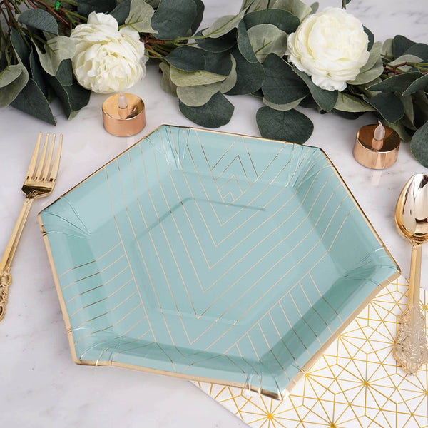 "25 Pack | 11"" Mint Blue Hexagon Fancy Dinner Paper Plates - Disposable Plates with Geometric Gold Foil Stripes and Rim - 350 GSM"