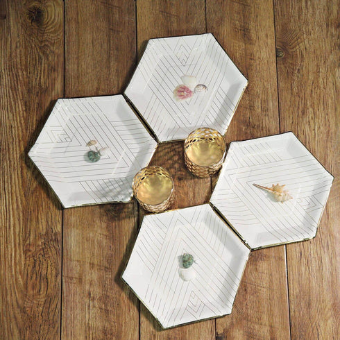 "25 Pack - 11"" - 350 GSM White Hexagon Fancy Dinner Paper Plates - Disposable Plates with Geometric Gold Foil Stripes and Rim"