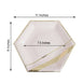 "25 Pack - 11"" 350 GSM Blush Hexagon Fancy Dinner Paper Plates - Disposable Plates with Double Gold Foil Stripes and Rim"