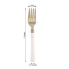 "24 Pack - 7"" Gold Heavy Duty Plastic Forks with White Handle, Plastic Silverware"
