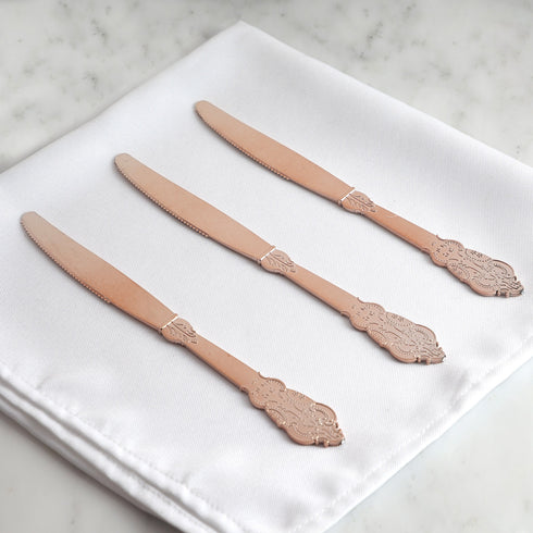 "24 Pack | 8"" Metallic Rose Gold Baroque Disposable Cutlery Plastic Knife"