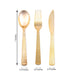 Disposable Plastic Cutlery Set | 72 Pack | Gold | Hammered Design