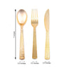 Hammered Design Gold Plastic Cutlery Set, Plastic Silverware