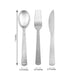 Disposable Plastic Cutlery Set | 72 Pack | Silver | Hammered Design