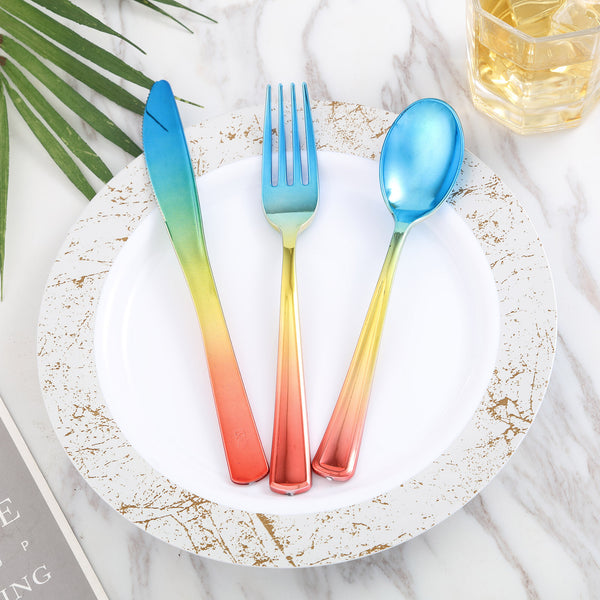 72 Pack Rainbow Ombre Design Heavy Duty Plastic Cutlery Set, Plastic Silverware