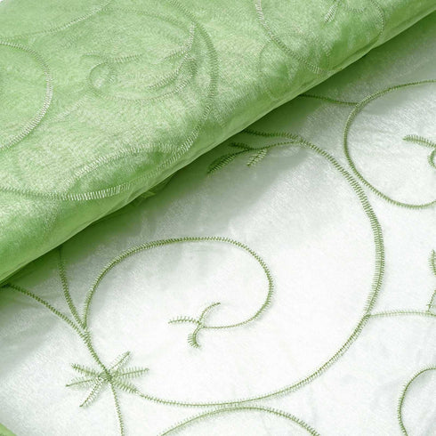 "Shimmering Organza with Satin Embroidery Fabric Bolt By Yard - Apple Green- 54"" x 10Yards"