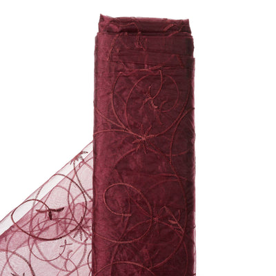 "Shimmering Organza with Satin Embroidery Fabric Bolt By Yard - Burgundy- 54"" x 10Yards"