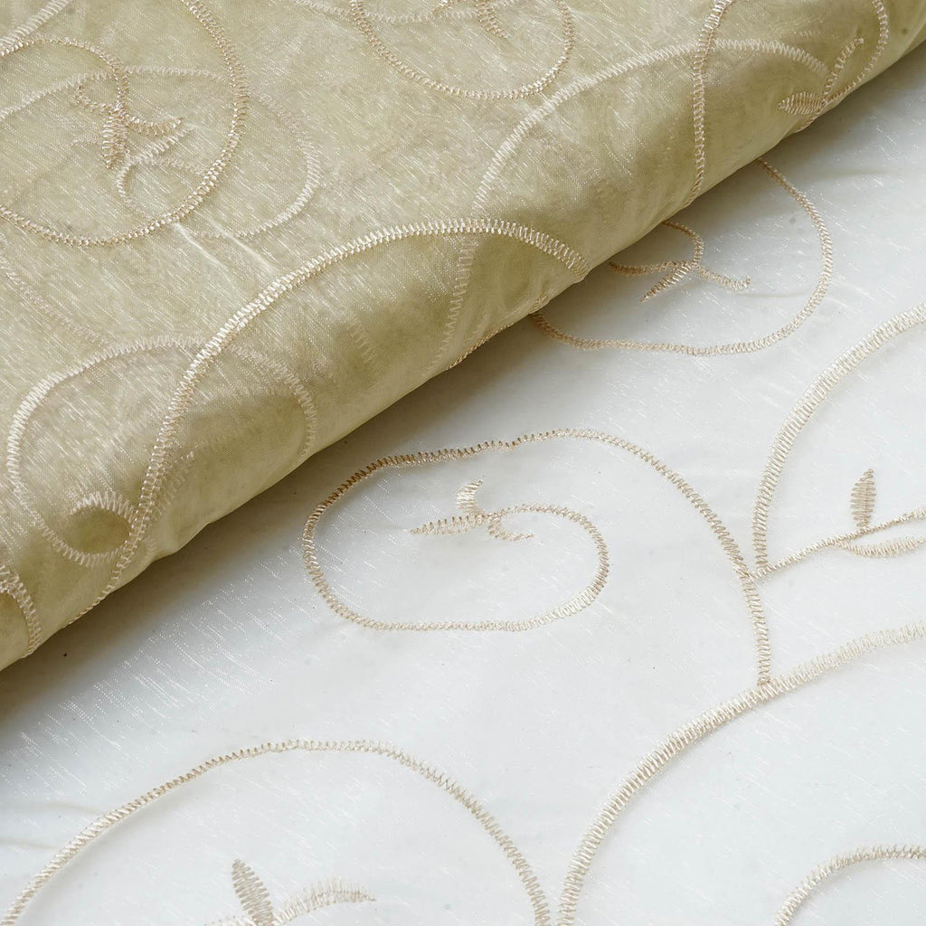 "Shimmering Organza with Satin Embroidery Fabric Bolt By Yard - Champagne- 54"" x 10Yards"