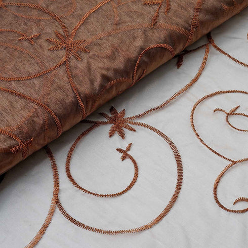 "Shimmering Organza with Satin Embroidery Fabric Bolt By Yard - Chocolate- 54"" x 10Yards"