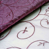 "Shimmering Organza with Satin Embroidery Fabric Bolt By Yard - Eggplant- 54"" x 10Yards"
