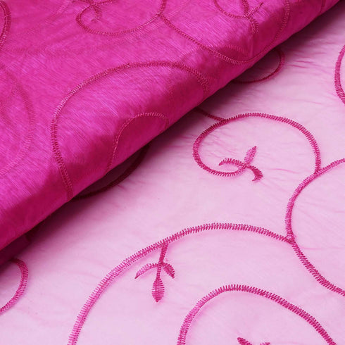 "Shimmering Organza with Satin Embroidery Fabric Bolt By Yard - Fushia- 54"" x 10Yards"