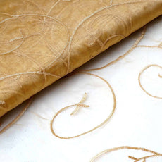 "Shimmering Organza with Satin Embroidery Fabric Bolt By Yard - Gold- 54"" x 10Yards"
