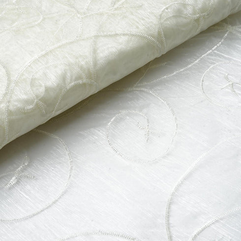 "Shimmering Organza with Satin Embroidery Fabric Bolt By Yard - Ivory- 54"" x 10Yards"