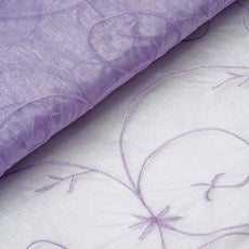 "Shimmering Organza with Satin Embroidery Fabric Bolt By Yard - Lavender- 54"" x 10Yards"
