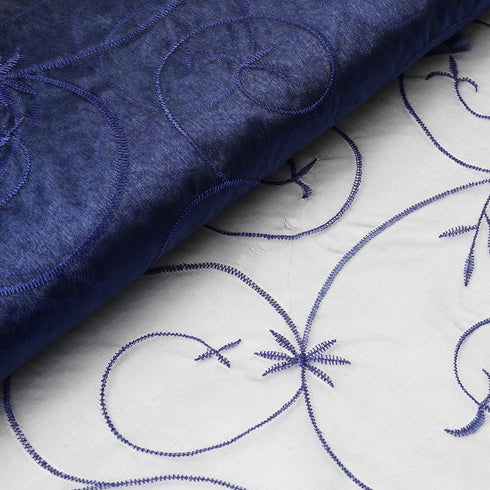 "Shimmering Organza with Satin Embroidery Fabric Bolt By Yard - Navy- 54"" x 10Yards"