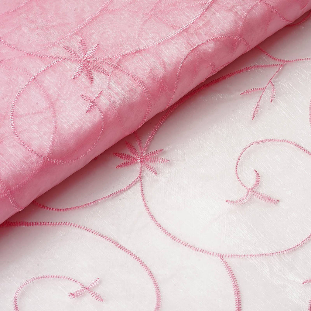 "Shimmering Organza with Satin Embroidery Fabric Bolt By Yard - Pink- 54"" x 10Yards"