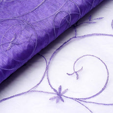 "Shimmering Organza with Satin Embroidery Fabric Bolt By Yard - Purple- 54"" x 10Yards"