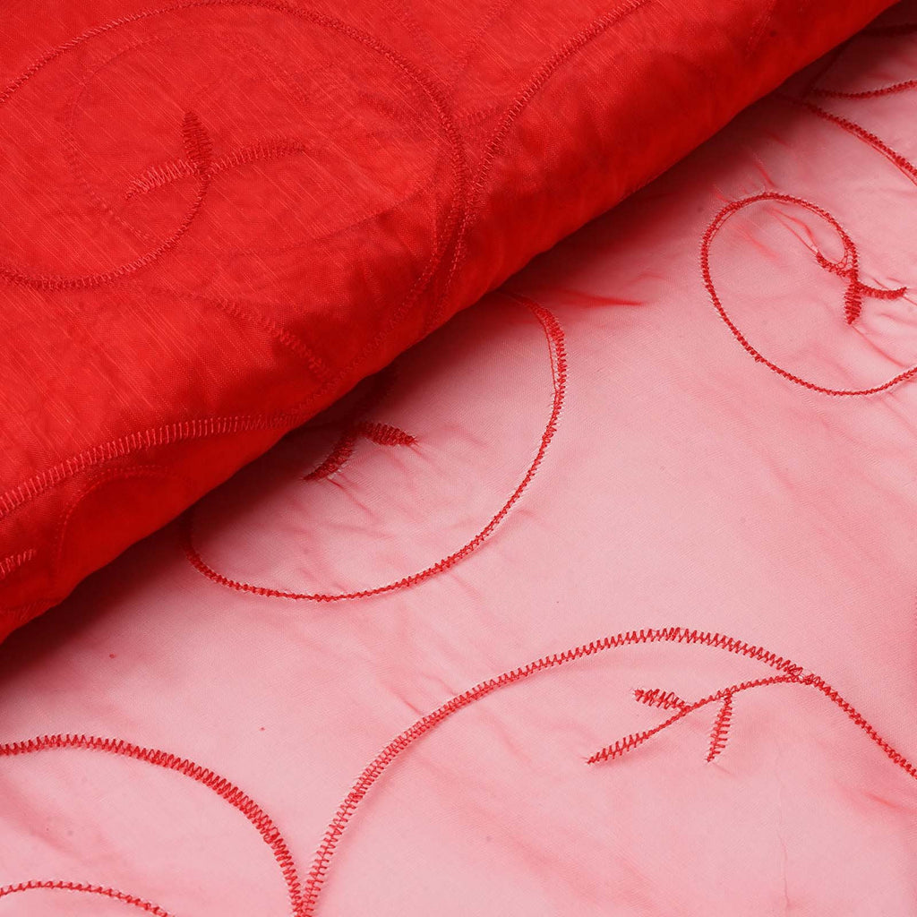 "Shimmering Organza with Satin Embroidery Fabric Bolt By Yard - Red- 54"" x 10Yards"