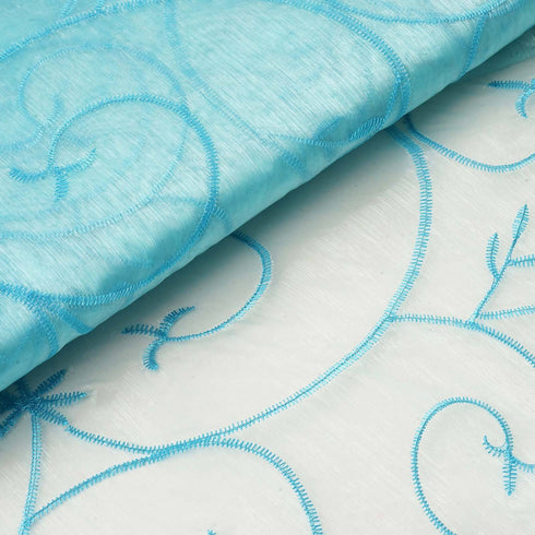"Shimmering Organza with Satin Embroidery Fabric Bolt By Yard - Turquoise - 54"" x 10Yards"