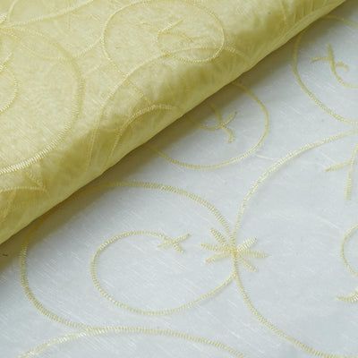 "Shimmering Organza with Satin Embroidery Fabric Bolt By Yard - Yellow- 54"" x 10Yards"
