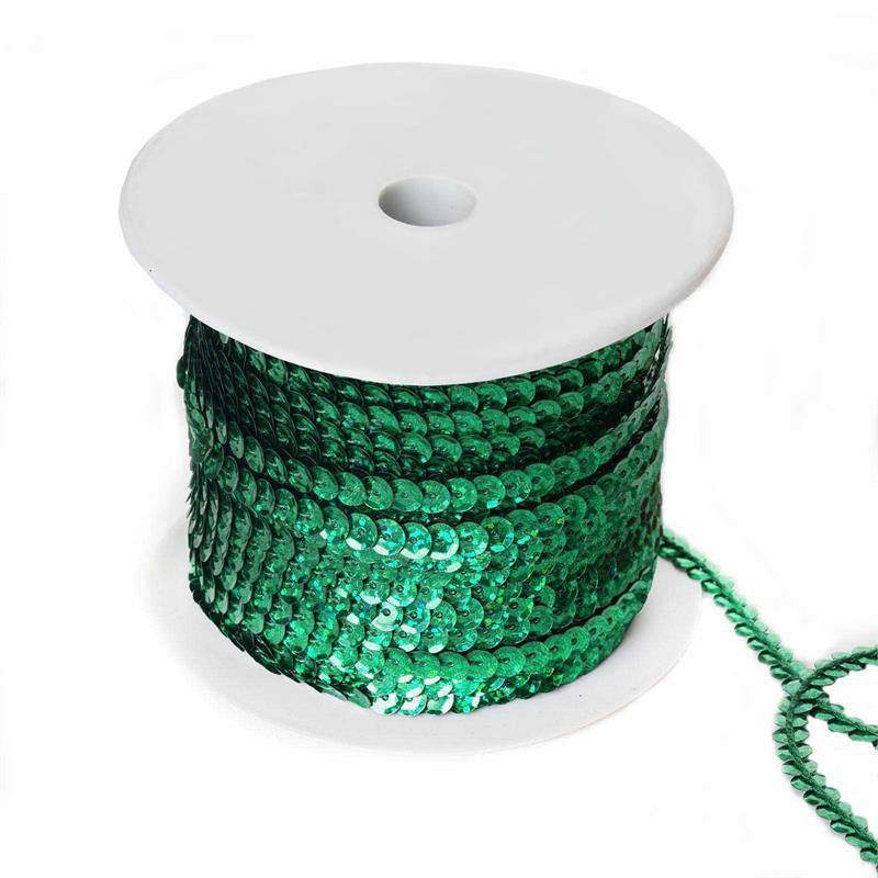 80 Yard Decorative Wedding Party Sequin Trim Roll - Emerald