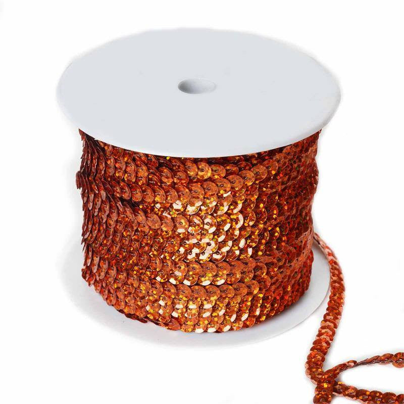 80 Yard Decorative Wedding Party Sequin Trim - Orange
