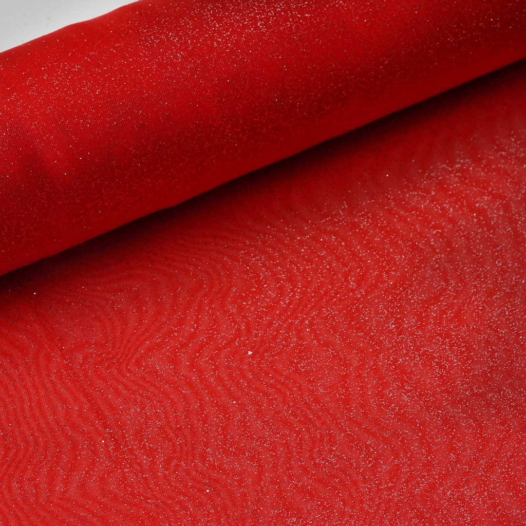 "Glittering Organza Fabric Bolt -Red-12""x10 YARDS"