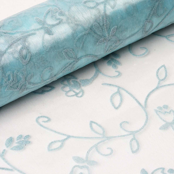 "12"" x 10 Yards Light Blue Velvet Embroidery on Organza Fabric Bolt"