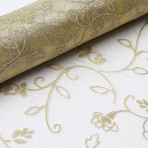 "Velvet Embroidery on Organza Wedding Dress Fabric Bolt By Yard - Champagne- 12"" x 10 yards"