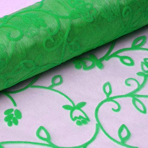 "Velvet Embroidery on Organza Dress Fabric Bolt - Emerald - 12"" x 10 Yards"