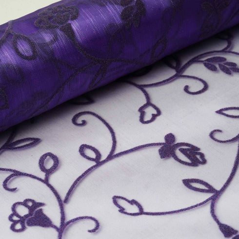 "Velvet Embroidery on Organza Wedding Dress Fabric Bolt By Yard - Purple - 12"" x 10 yards"