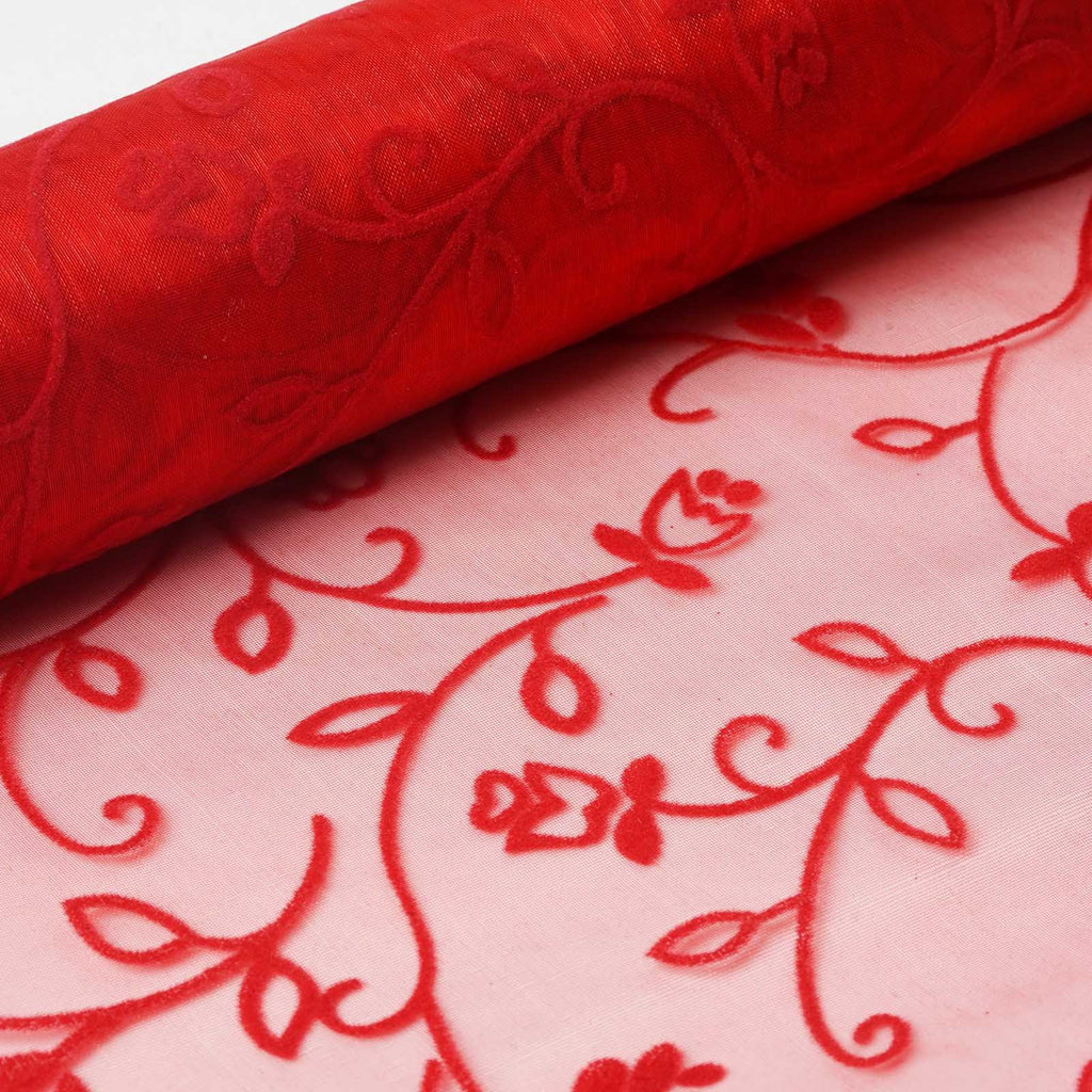 "Velvet Embroidery on Organza Wedding Dress Fabric Bolt By Yard - Red - 12"" x 10 yards"