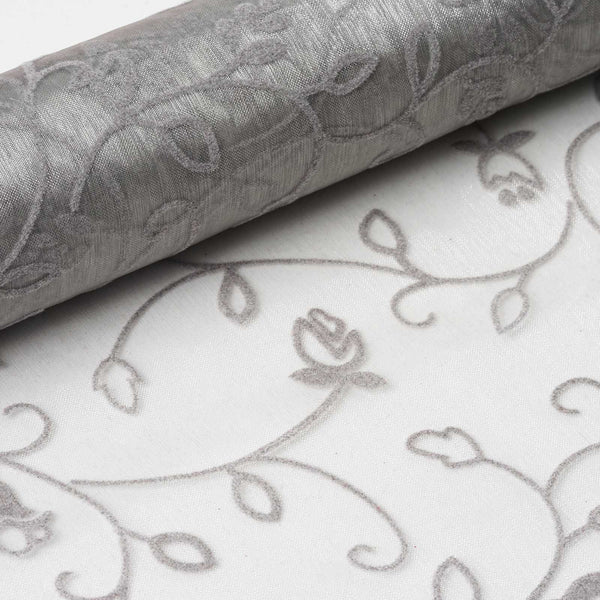 "12"" x 10 Yards Silver Velvet Embroidery on Organza Fabric Bolt"