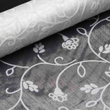 "Velvet Embroidery on Organza Wedding Dress Fabric Bolt By Yard - White - 12"" x 10 yards"