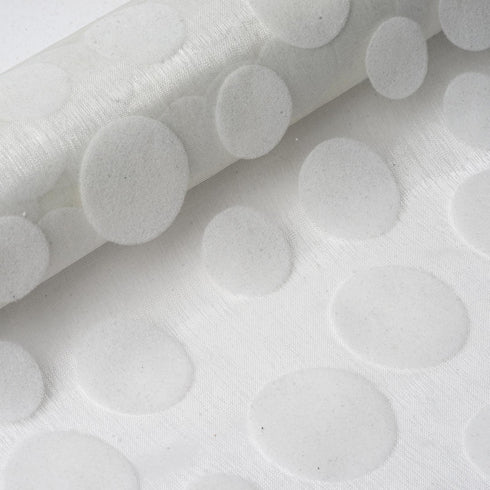"Premium Velvet Dots on Organza Fabric Dress Bolt By Yard - Ivory - 12"" x 10 yards"