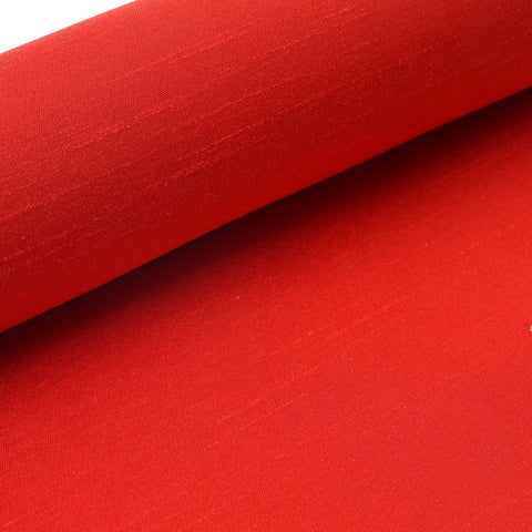 "Premium Slub Polyester Bridal Dress Fabric Bolt By Yard - Red- 12""x10 Yards"