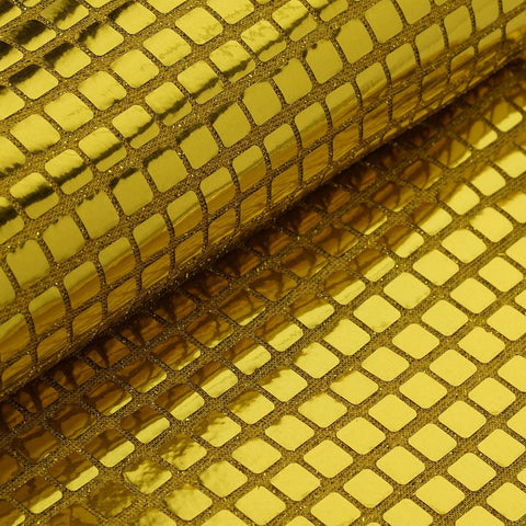 "Shiny Wedding Craft Mirror Foil Fabric Bolt By Yard - Gold - 35"" x 10 Yards"
