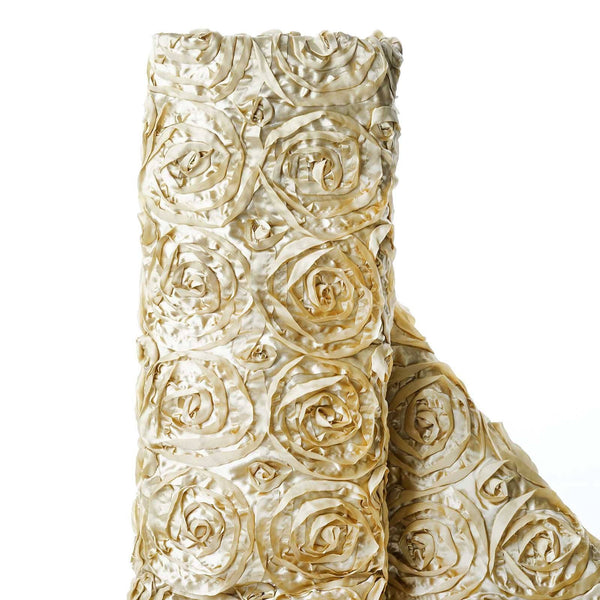 "54"" X 4 Yards Champagne Satin Rosette Fabric by the Bolt"