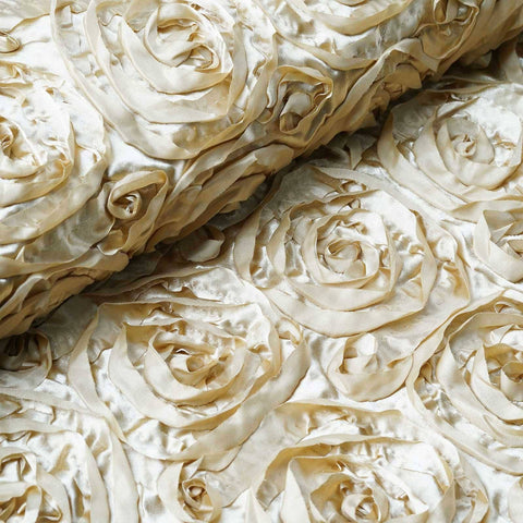"Wedding Party Wonderland Rosette Fabric Bolt By Yard - Champagne - 54"" x 4 Yards"
