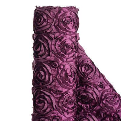 "54"" X 4 Yards Eggplant Satin Rosette Fabric by the Yard"