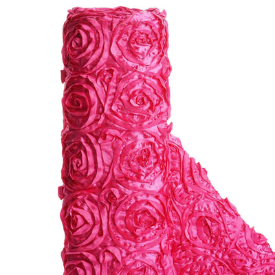 "54"" X 4 Yards Fushia Satin Rosette Fabric by the Yard"