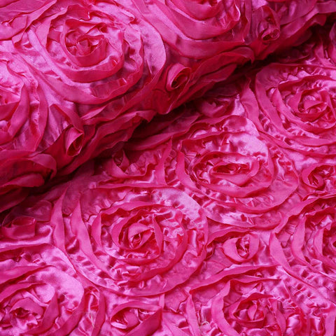 "Wedding Party Wonderland Rosette Fabric Bolt By Yard - Fushia - 54"" x 4 Yards"