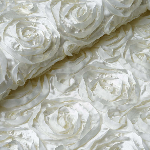 "54"" X 4 Yards Ivory Satin Rosette Fabric by the Bolt"