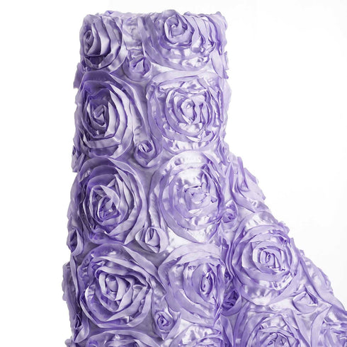 "54"" X 4 Yards Lavender Satin Rosette Fabric by the Yard"
