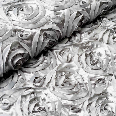 "54"" X 4 Yards Silver Satin Rosette Fabric by the Bolt"