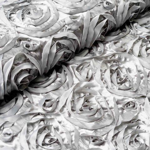 "Wedding Party Wonderland Rosette Fabric Bolt By Yard - Silver - 54"" x 4 Yards"