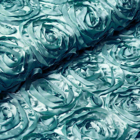 "Wedding Party Wonderland Rosette Fabric Bolt By Yard - Turquoise - 54"" x 4 Yards"