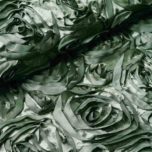 "54"" X 4 Yards Moss Green Satin Rosette Fabric by the Bolt"